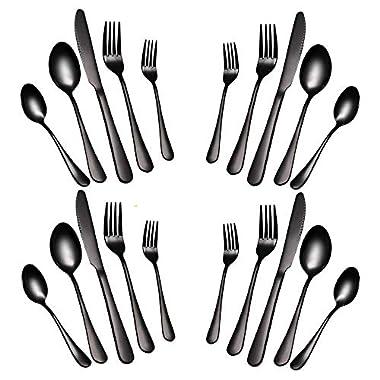 WOAIWO-Q 20--Piece Flatware Silverware Set ,Tableware Set ,Dinnerware Set Service for 4 Stainless Steel Cutlery Include Knife Fork Spoon Dishwasher Safe (Black)
