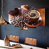 Cuadro sobre Impresión Lienzo 5 Piezas Cuadro En Lienzo 5 Piezas Granos De Taza De Café Negro Moderno Arte Sala Decoración Listo para Colgar Lienzos 5 Pieza Cuadro En Lienzo