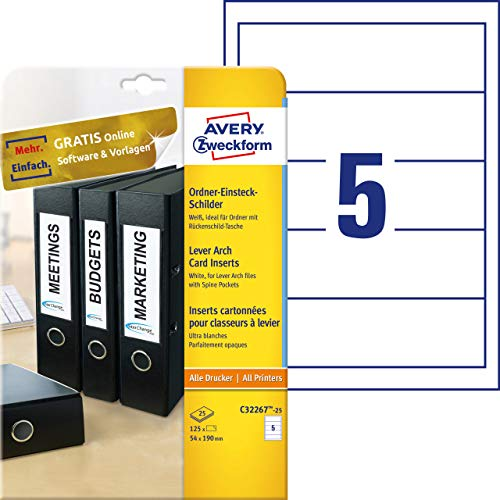 Avery Zweckform C32267-25 - Etiquetas para archivadores (25 hojas, 170 g, 54 x 190 mm), color blanco