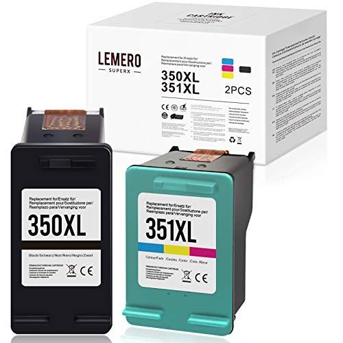 LEMERO SUPERX Tintenpatrone Kompatibel für HP 351 XL 351 XL 350XL 351XL für HP Deskjet D4260 D4360,Officejet J5780 J6410,Photosmart C4280 C4340 C4380 C4480 C4580 C5180 C5280 D5360 (Schwarz/Farbe)