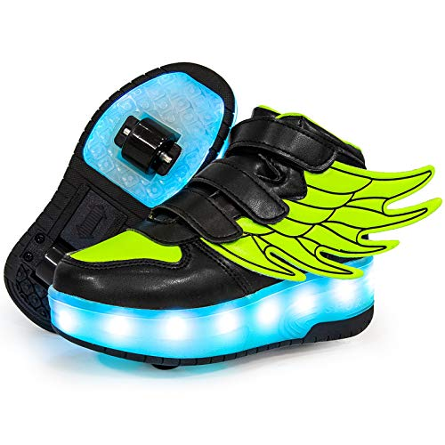 GGBLCS LED Zapatillas con 2 Ruedas Niñas Niño USB Carga Neutra Automática Telescópico Multifunción de Skate de Patìn Zapatos Calzado de Deportes de Exterior Unisex,Verde,30 EU