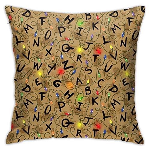 Lawenp Stranger Letter Things Vintge Import Fundas de Almohada cuadradas Fundas de Almohada para sofá Cama Sofá Coche Suave (18 x 18 Pulgadas)