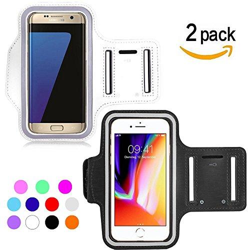 Ycloud [2 Pack] Wasserdicht Sportarmband für Samsung S8 Active, ZTE Blade V9, Acer Liquid Z6E, ZTE Nubia N3 Maximale Größe bis 5.5Zoll -(Weiß+Schwarz)
