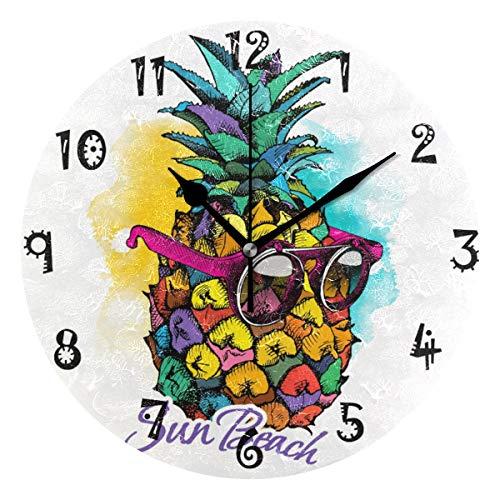 LDIYEU Piña Amarilla De Gafas De Sol Reloj de Pared Silencioso Decorativo Madera Vintage Relojs para Niños Niñas Cocina Dormitorio Hogar Oficina Escuela Decoración