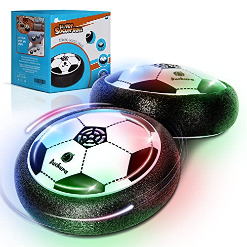 Duckura Toddlers Toys Gifts for 2-5 Year Old, Hover Soccer Balls Set of 2 with LED Lights and Foam Bumpers, Indoor Games Activities, Halloween Christmas Birthday Gifts for Boys Girls Kids Age 2+
