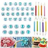 Juego de 45 moldes para fondant, diseño de letras del alfabeto, para decorar tartas, moldes para...