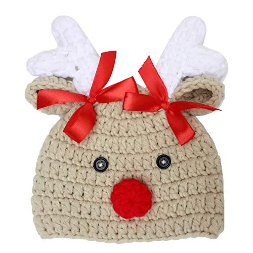 Chapeaux de bébé,Mode Mignon Unisexe Tricoté Chaud Doux Coton De Noël Chapeau De Cerf Chapeau pour 0-1 Année Nouveau-Né Bébé Tout-Petits Garçons Filles Photographie Props