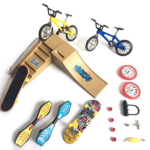Mini dedo bicicleta juguete kit con escena, mini dedo movimiento moto scooter monopatín juguete fiesta favorece ruedas de repuesto y herramientas para niños