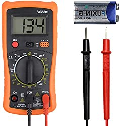 Digital Multimeter Pocket Multi Continuity Tester Multimeters Multifunction Voltmeter Ammeter Ohmmeter AC DC Ohm Volt Amp& Diode Voltage Meter with Backlight LCD& Protective Case, Dual Fused Anti-Burn