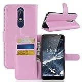 BEIJING ♋ PROTECTIVECOVER + Litchi Texture Horizontal Flip Funda de Cuero for Nokia 5.1, con Billetera y Soporte y Ranuras Tarjetas De Caja de protección de la Moda (Color : Rosado)