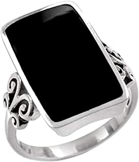 Created Black Onyx Inlay White Gold Plated 925 Sterling Silver Swirl and Spiral Ring