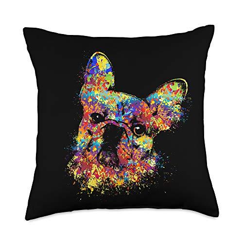 K9PrintArt French Bulldog -Frenchie Dog Throw Pillow, 18x18, Multicolor