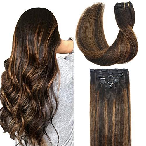 GOO GOO Clip in Hair Extensions Human Hair Balayage Dark Brown to Chestnut Brown 7pcs 120g 16 Inch Remy Human Hair Extensions Clip in Straight Thick Real Hair Extensions