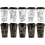 Youngever 70 Sets Disposable Coffee Cups with Lids, To Go Hot Coffee Cups, Durable Paper Cups with Lids, City Skyline Design
