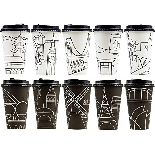 Youngever 70 Pack Disposable Coffee Cups with Lids, To Go Hot Coffee Cups, Durable Paper Cups with Lids, City Skyline Design