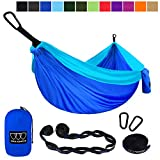 Gold Armour Camping Hammock - Extra Large Double Parachute Hammock (2 Tree Straps 16 Loops/10 ft Included) USA Brand Lightweight Portable Mens Womens Kids, Camping Accessories Gear