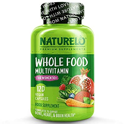 NATURELO Whole Food Multivitamin for Women 50+ (Iron Free) - with Natural Vitamin, Mineral, Botanical Blends - Best Complete Formula After Menopause - No GMOs - 120 Vegan Capsules   1 Month Supply