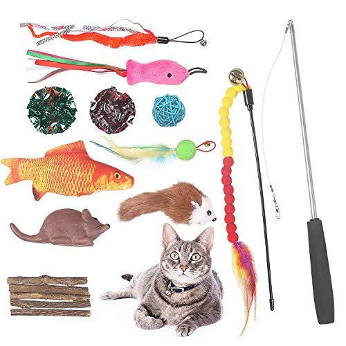 Kidskin 16-teiliges Katzenspielzeug, Zahnspielzeug, interaktives Katzenspielzeug-Set inklusive Katzenspielzeug, Katzenminze-Fisch, Katzenspielzeug, Federmäuse, Voca-Mäuse, Silvervine Kaustab