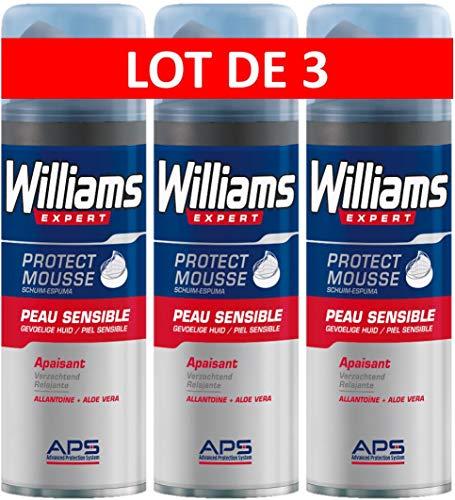 Williams Espuma Afeitar Piel Sensible - 3 Recipientes de 200 ml - Total: 600 ml
