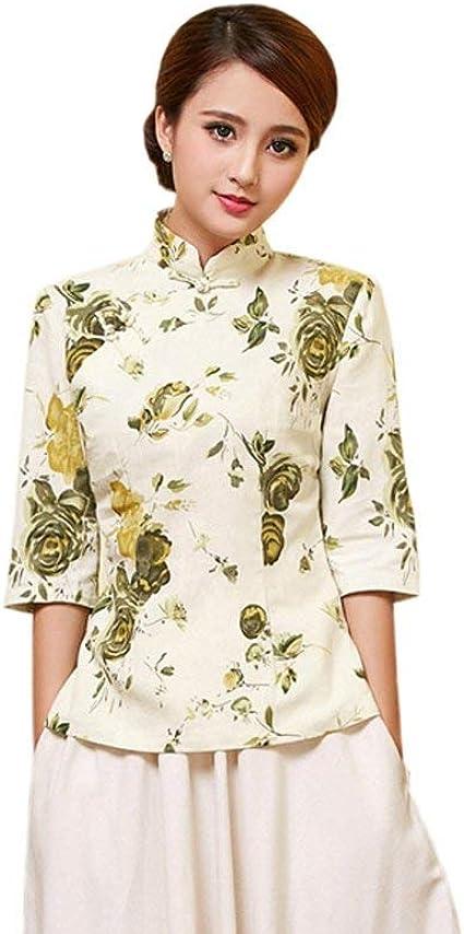 Blusa Mujer Primavera Otoño Elegantes Manga Festival Shirt Moda de Moda Larga Stand Cuello Patrón De Flores Estilo Chino Cheongsam Vintage Camisas ...