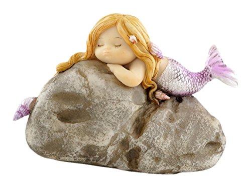 Top Collection Miniatur-Statue für Feengarten und Terrarium, kleine Meerjungfrau auf Felsen