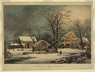 HistoricalFindings Photo: Winter in The Country: a Cold Morning,c1863,Snow,Currier & Ives Photo,Durrie