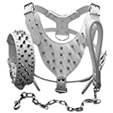 haoyueer Leather Spiked Studded Medium & Large Dog Collars, Harnesses & Chain Leashes 3Pcs Matching Set for Pit Bull,Mastiff, Boxer, Bull Terrier