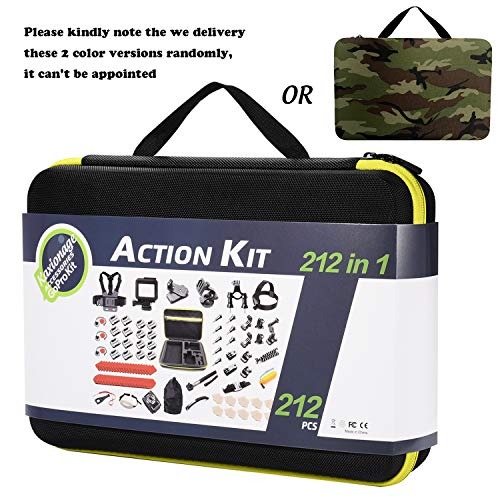 KAG 212 in 1 Accessorio Kit per Gopro Hero 7, Hero 4,5,6, Session, Black, Hero 2018, Fusion, Supporto Fascia per Zaino per Auto per AKASO Yi APEMAN VIVITAR