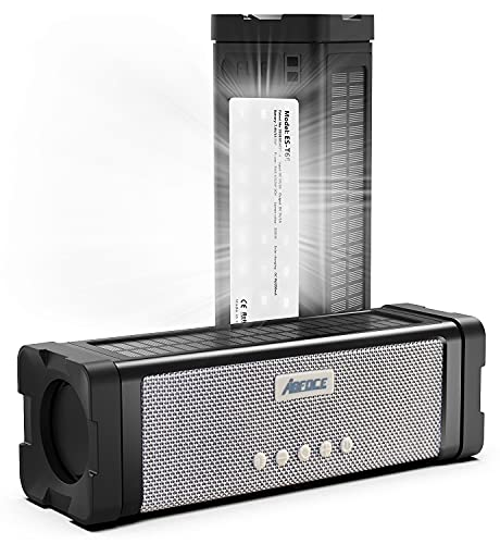 ABFOCE Solar Bluetooth Speaker,IPX7 Waterproof Speaker 20W Rich Bass,with 27 LEDs Lights TWS Wireless Speaker Bluetooth Portable, 5000mAh Power Bank,Mic,TF Card,for Outdoor Shower Home Patio-Black