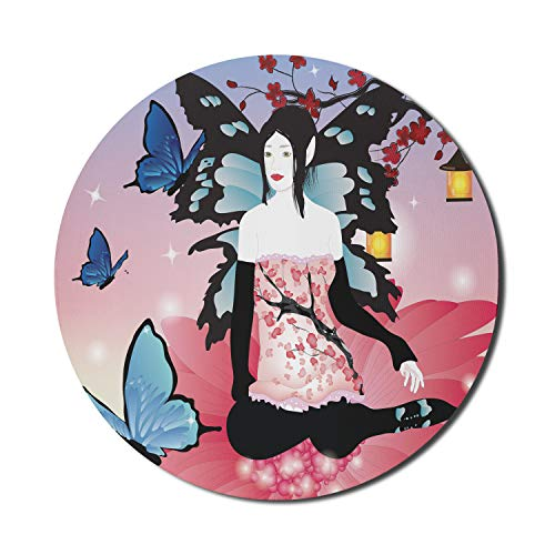 Ambesonne Gerber Daisy Mouse Pad for Computers, Fairy Girl with Wings on a Gerbera Blossom Butterflies in an Enchanted Garden, Round Non-Slip Thick Rubber Modern Gaming Mousepad, 8' x 8', Multicolor
