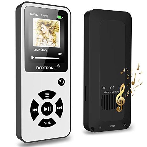 MP3-Player 16 GB Royal BC01-100 Stunden Wiedergabe, Lautsprecher, Kopfhörer, Schrittzähler, Hörbücher, FM Radio, Wecker, mit microSD Kartenslot für bis 128 GB microSD Karten - Weiß von BERTRONIC