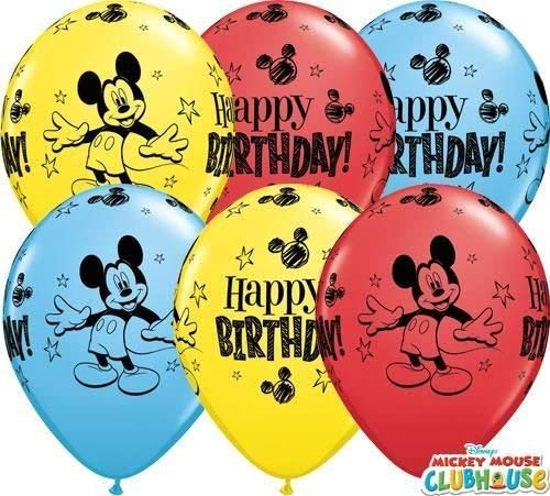 Mickey Mouse Joyeux Anniversaire 27.9cm Qualatex Ballons En Latex x 10
