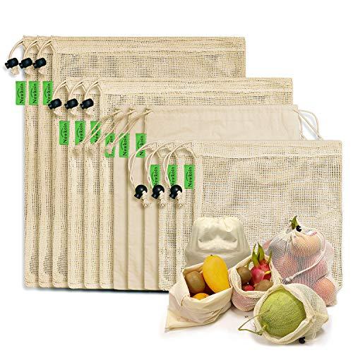 Sacs à Provisions Réutilisables, 12 Sacs de Produits Réutilisables en Coton Biologique Sacs Lavables en Plastique Sans Plastique Sacs à Provisions Zéro Déchet pour Jouets de Fruits à Légumes