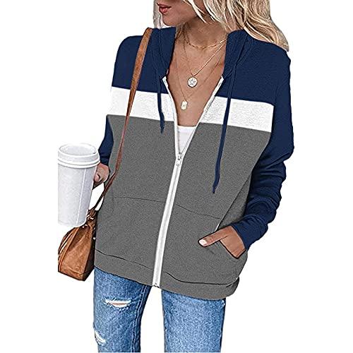 Wirziis Ziper Hoodies Sweatshirt For Women Lightweight Long Sleeve Color Block Pullover Tops Oversized Drawstring Jackets