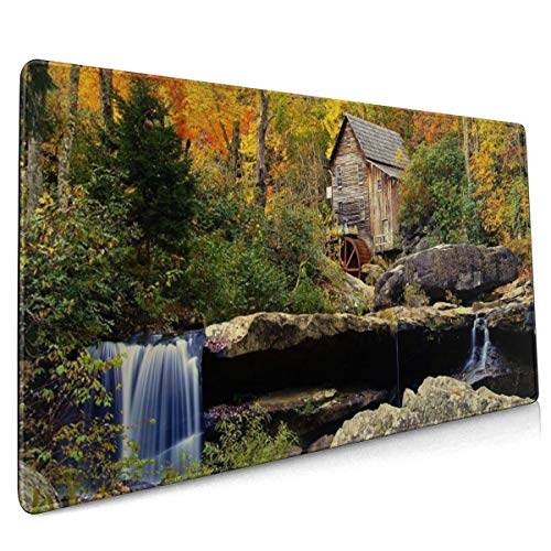 Babcock State Park Crist Mill Herfst Forest River Waterval Molen Muis Pad Niet Slip Rubber Grote Gaming Keyboard Mat 15.8x35.5 In