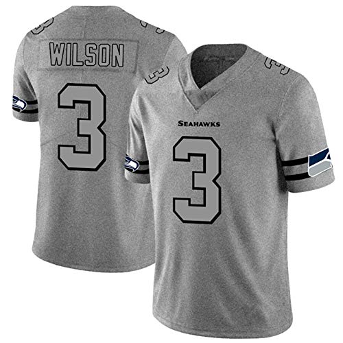 ILHF Wilson # 3 American Football Seahawks Fan Rugby Jersey, Hombres Bordado Quick Sportswear Transporte Secado Camiseta,Gris,XXXL