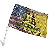 POYOMUK Tread Gadsden Flagge 'On Me', langlebige Autofahne, doppelseitig, 30,5 x 45,7 cm, für Autos, LKWs, Fahrzeugfenster, Clip für Innen- und Außenbereich, Dekoration, Auto-Flagge (kein Flaggenmast)