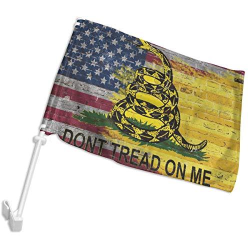 """POYOMUK Tread Gadsden Flagge \""""On Me\"""", langlebige Autofahne, doppelseitig, 30,5 x 45,7 cm, für Autos, LKWs, Fahrzeugfenster, Clip für Innen- und Außenbereich, Dekoration, Auto-Flagge (kein Flaggenmast)"""