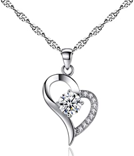 Arain Cubic Zirconial Love Heart Shape Pendant Necklaces,...