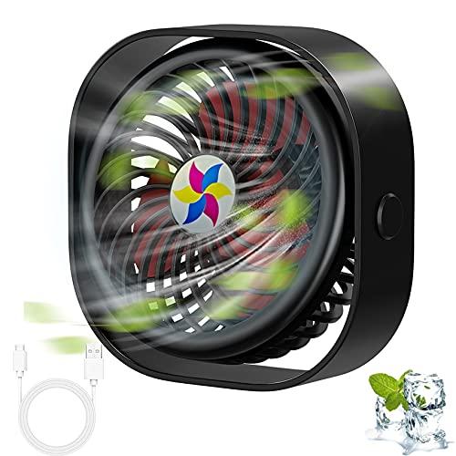 EasyULT Ventilador USB, Ventilador de Mesa Portátil, Tres Velocidades Mini Ventilador USB Silencioso, Fan 360 Grados de Rotación para Oficina/Hogar/Viaje, USB Alimentado(Negro)