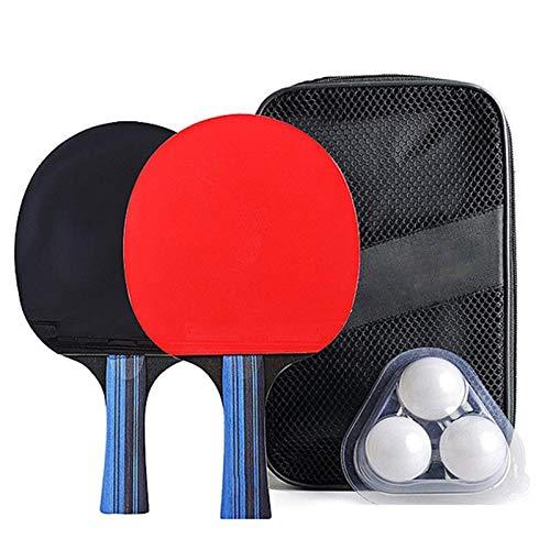 Una Pareja Profesional Ping Ping Pong Pong Pong Paddle Bat + 3pcs Bols Bols Set (Color : Horizontal Shot)