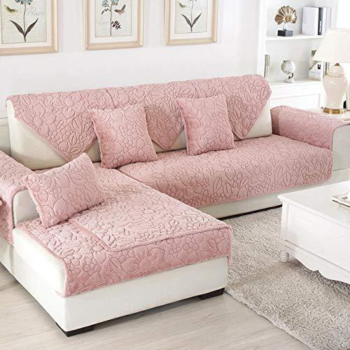 fundas de sofá y sillones,Funda de sofá de tela de felpa para sala de estar, fundas de cojín de 4 colores, funda antideslizante para asiento de sofá, toalla de esquina de invierno para sofá, rosa