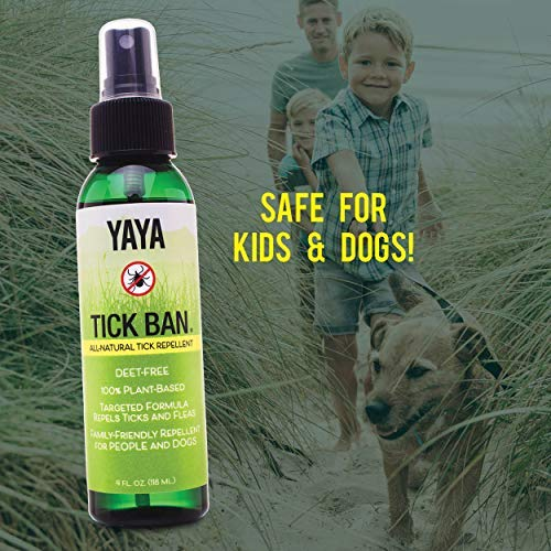 TICK BAN Yaya Organics All Natural Extra Strength Tick Repellent DEET Free - 4 Ounce Spray Bottle