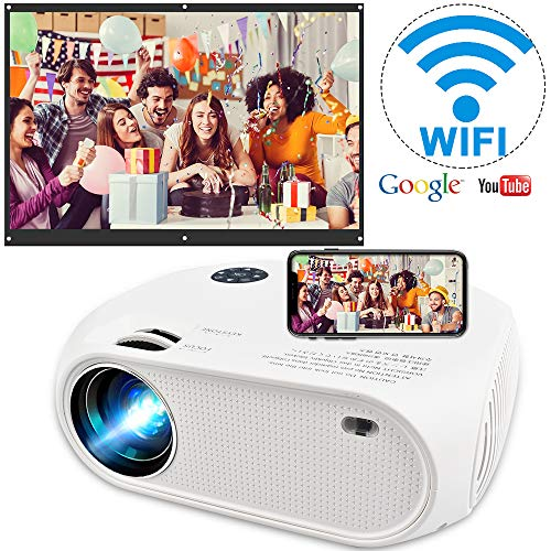 "Wireless WiFi Projector 4200L,2020 Newly Upgraded WEILIANTE Mini Video Projector, Support Dolby 50,000Hrs, 200"" Display, Full HD 1080P, Compatible with Android, iOS, Video Games, TV Stick, Laptops"