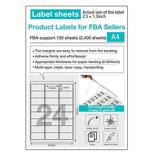 (Free bee) Amazon FBA Label Shipping Mailing Stickers 【100 Sheets, 2400 Labels】24-up Labels 66 X 33.9 Mm on A4, Easy to Peel White Self Adhesive Shipping Stickers for Laser/Inkjet Printer