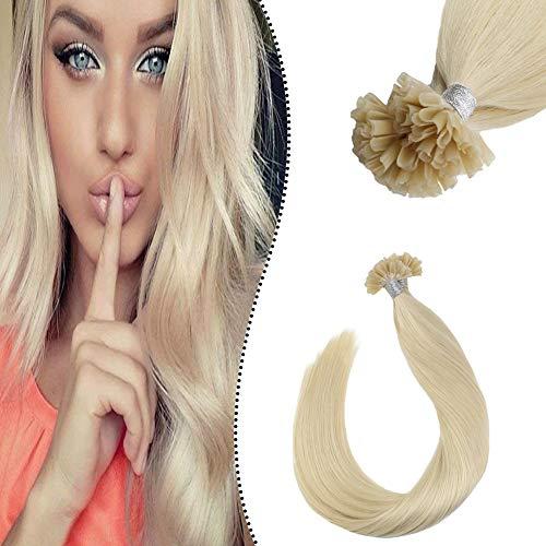 Ugeat Echte Haare Extensions Bonding U-Tip Keratin Fusion Glue Sticks Platinblond 1 Gramm Extensions Remy Haarverlangerung Strahnen Bondings 50GR 50cm