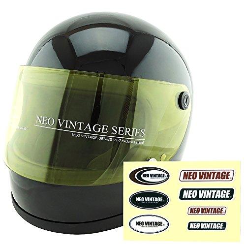 NEO VINTAGE レトロ族ヘルタイプ フルフェイス SG規格品 ステッカー付 [ブラック×イエローシールド 黒 Lサイズ:59-60cm対応] VT-7 バイクヘルメット