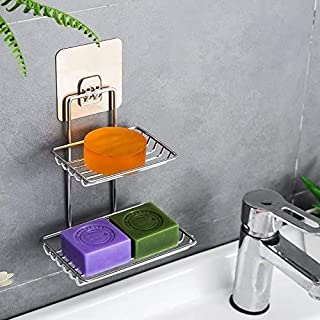 PARIDHI Wall Mounted Self-Adhesive Stainless Steel Double Layer soap Dish Holder Kitchen Bathroom Soaps Storage Rack for H...