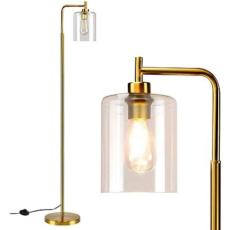 Depuley Lampadaire LED moderne en verre et métal - Lampe sur pied minimaliste - E27 - Avec interrupteur à pied - Maximum : 60 W - Lampe de lecture pour bureau, chambre à coucher, studio (avec ampoule)