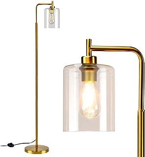 Depuley Lampadaire LED moderne en verre et métal - Lampe sur pied minimaliste - E27 - Avec interrupteur à pied - Maximum :...